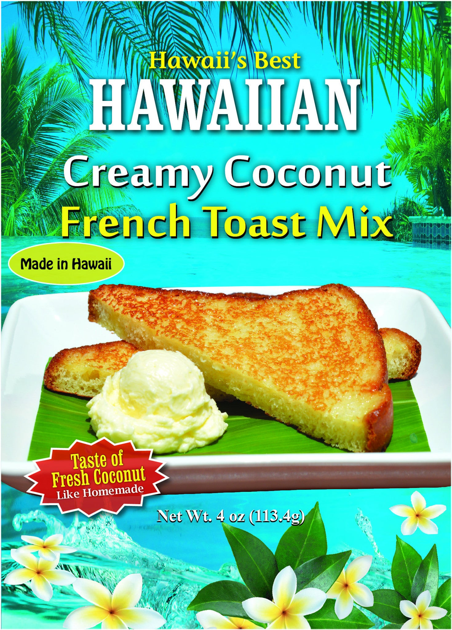FREE SHIPPING! (20 BAGS - EXTRA VALUE PACK, $2.99 EACH!) HAWAIIAN CREAMY COCONUT COCONUT FRENCH TOAST MIX (4 oz package).  Makes approx 12 slices of French Toast.  NEW ITEM!
