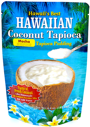 (3 BAGS - EXTRA VALUE PACK, $6.99 EACH) MOCHA COCONUT TAPIOCA MIX, Specialty Item- Limited Time Only, Made with 100% Freeze Dried Kona Coffee & 100% Ghirardelli Cocoa