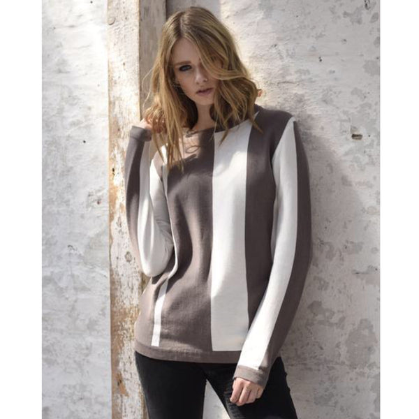 Pullover Lone taupe/wollweiß