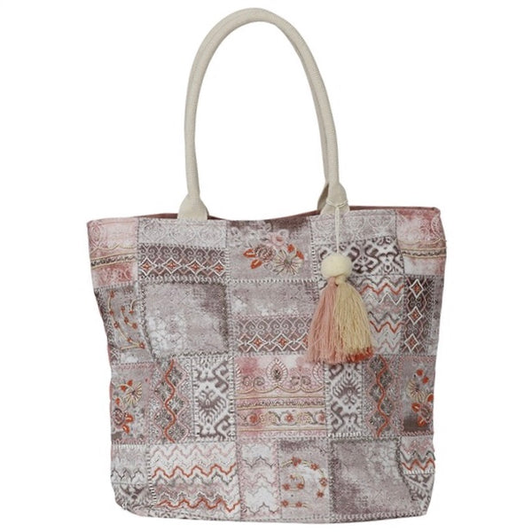 Schultertasche Wilma taupe/rosé