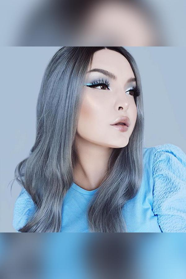 "22"" Grey Dark Roots Lace Front Synthetic Wig 10253"