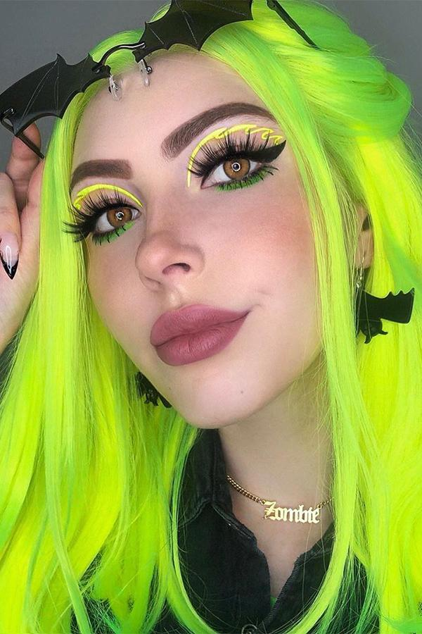 "18"" Fluorescent green Lace Front Synthetic Wig 20317"