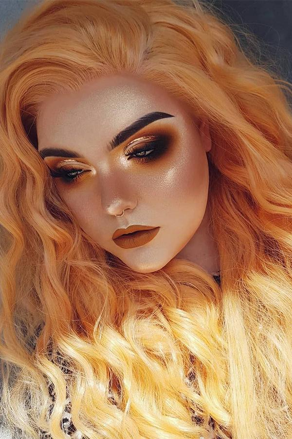 "24"" Orange Blonde Lace Front Synthetic Wig 20327 - StarLite Hair"