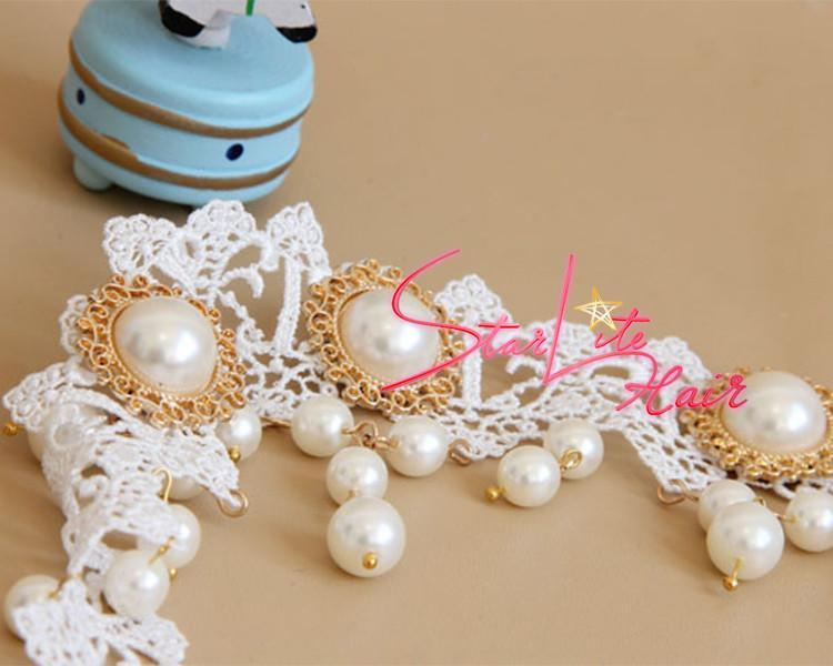 Bridal Pearl Pendant White Lace Hand-made Headband AC006 - StarLite Hair