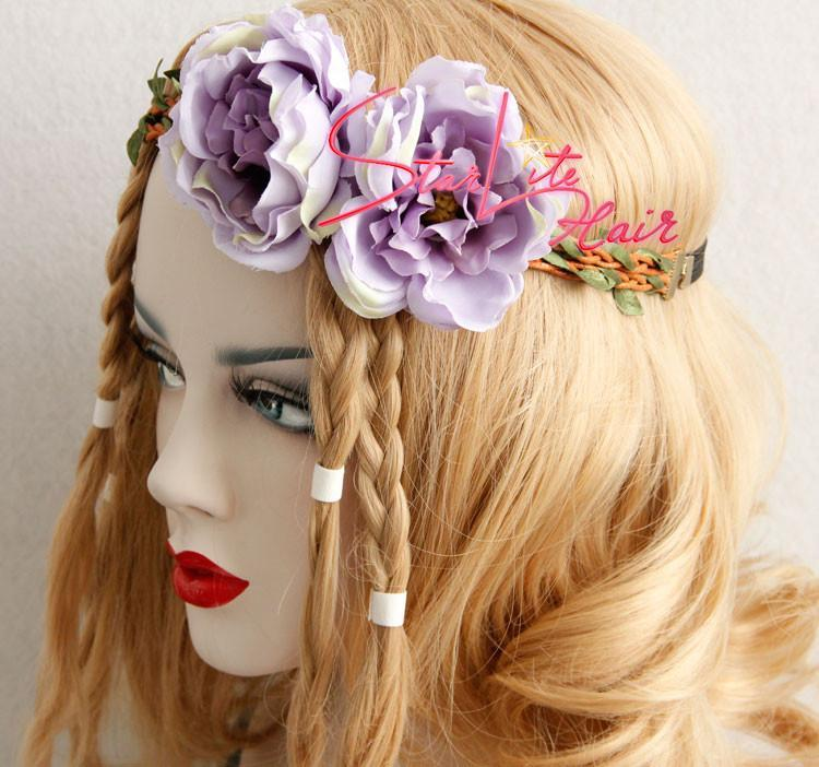 Purple Flower Vine Wreath Woodland Circlet Headband AC009 - StarLite Hair