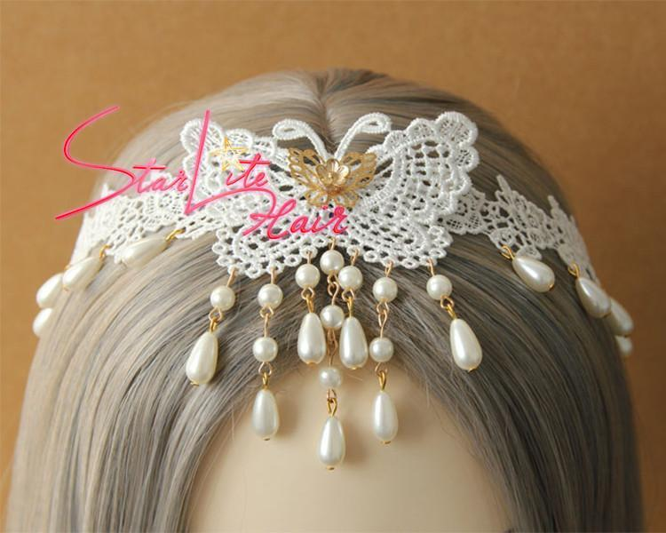 White Lace Pearl Pendant Elegant Wedding Headband AC012 - StarLite Hair
