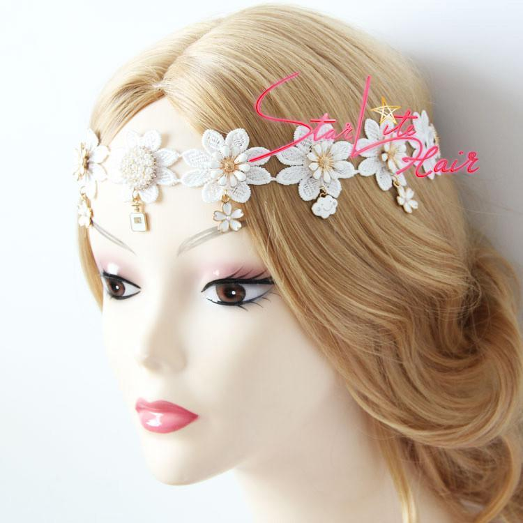 White Lace Flower Crown Pendant Bridal Headpiece AC014 - StarLite Hair