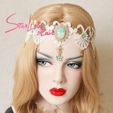 White Lace Flower Wedding Crown Hand-made Headband AC023 - StarLite Hair