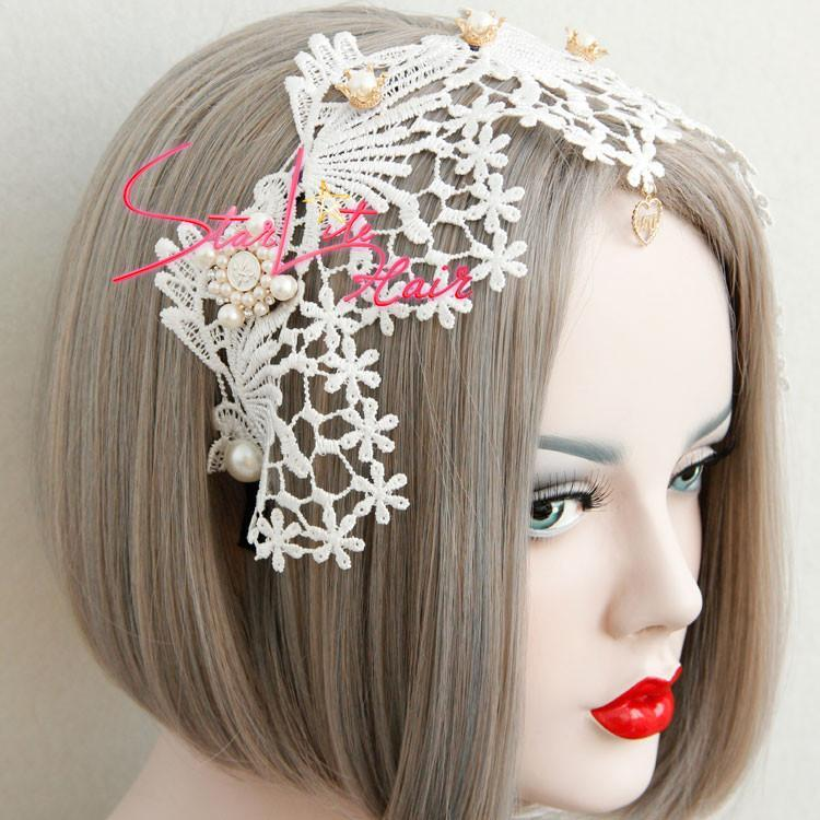 White Lace Flower Elegant Bridal Hand-made Headpiece AC037 - StarLite Hair