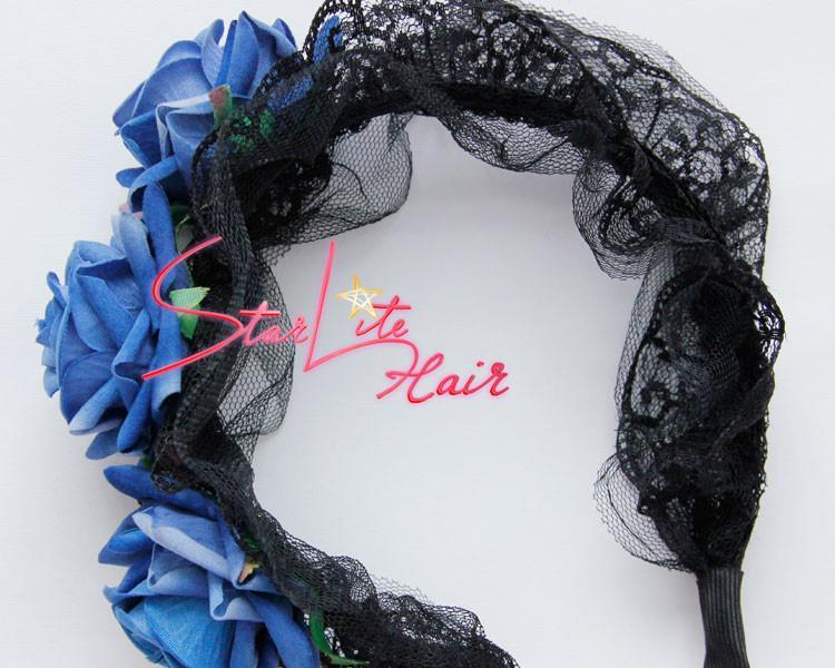 Black Lace Veil With Blue Flower Wedding Headpiece AC039 - StarLite Hair