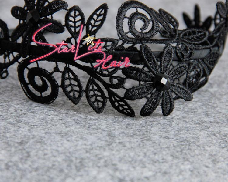 Black Lace Flower Gothic Wedding Bridal Headband AC045 - StarLite Hair