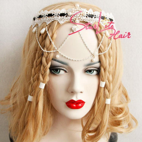 Bridal Pearl Pendant White Lace Hand-made Headband AC006