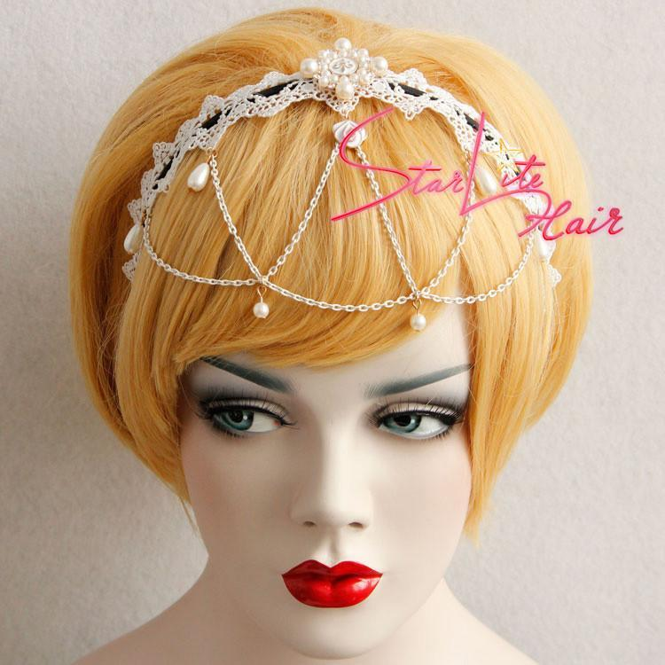 Wedding Crown White Lace Pearls Pendant Headpiece AC053 - StarLite Hair