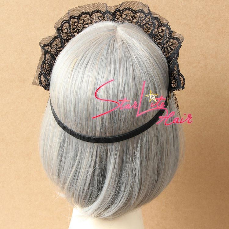 Gothic Black Veil Crown Pendant Wedding Headband AC059 - StarLite Hair
