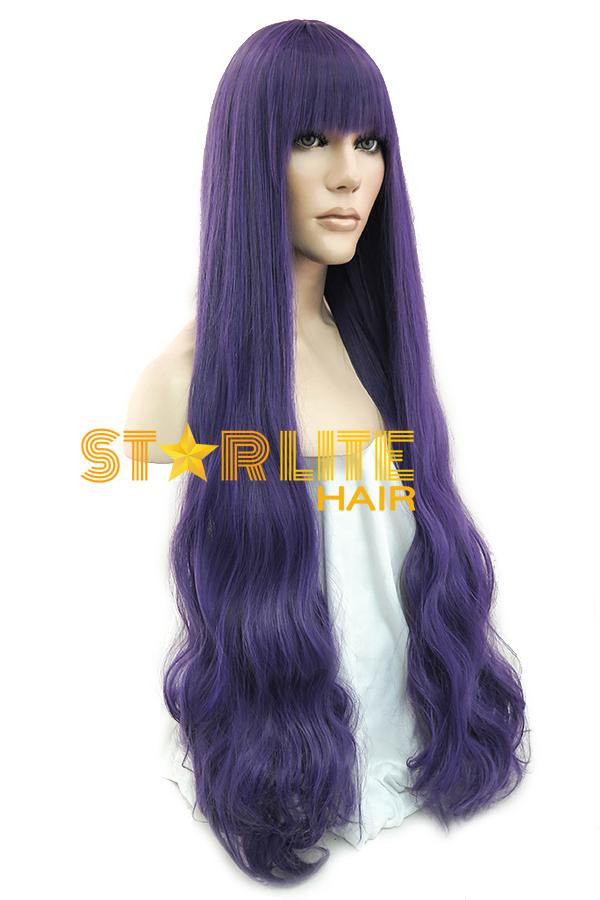 "34"" Black Mixed Purple Fashion Synthetic Hair Wig 50182 - StarLite Hair"