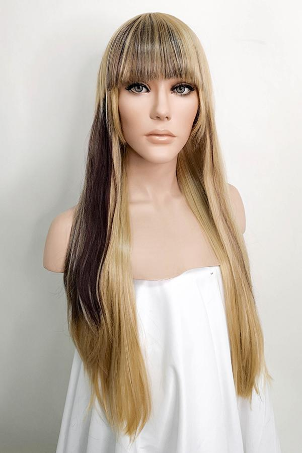 "28"" Brown Mixed Blonde Fashion Synthetic Wig 40038"