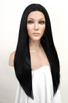 "24"" Jet Black Lace Front Synthetic Hair Wig 20001"
