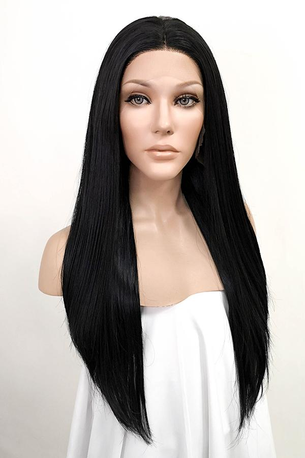 "24"" Jet Black Lace Front Synthetic Hair Wig 20001 - StarLite Hair"