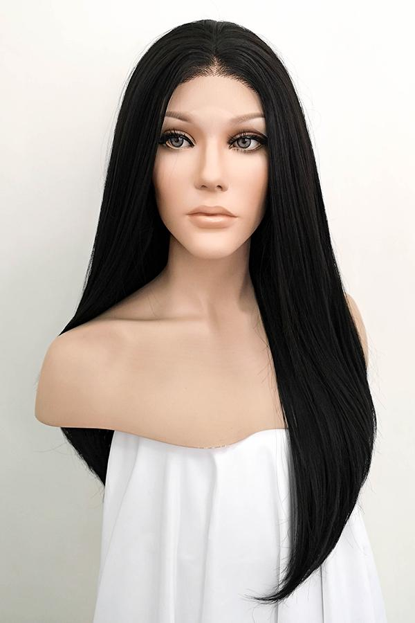 "24"" Natural Black Lace Front Synthetic Wig 20228 - StarLite Hair"