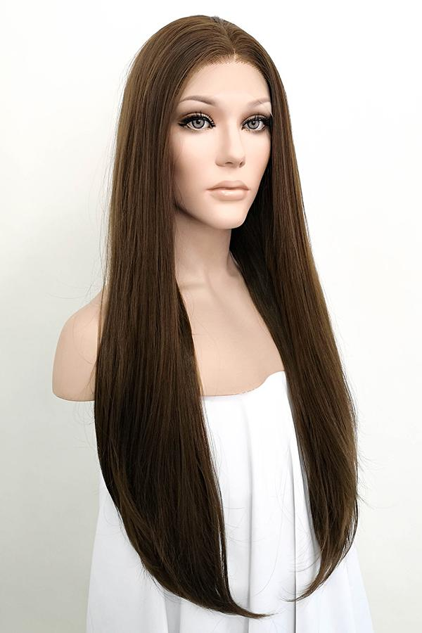 "24"" Mixed Brunette Lace Front Synthetic Wig 20004"