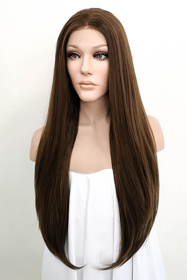 "24"" Mixed Brown Lace Front Synthetic Wig 20004 - StarLite Hair"