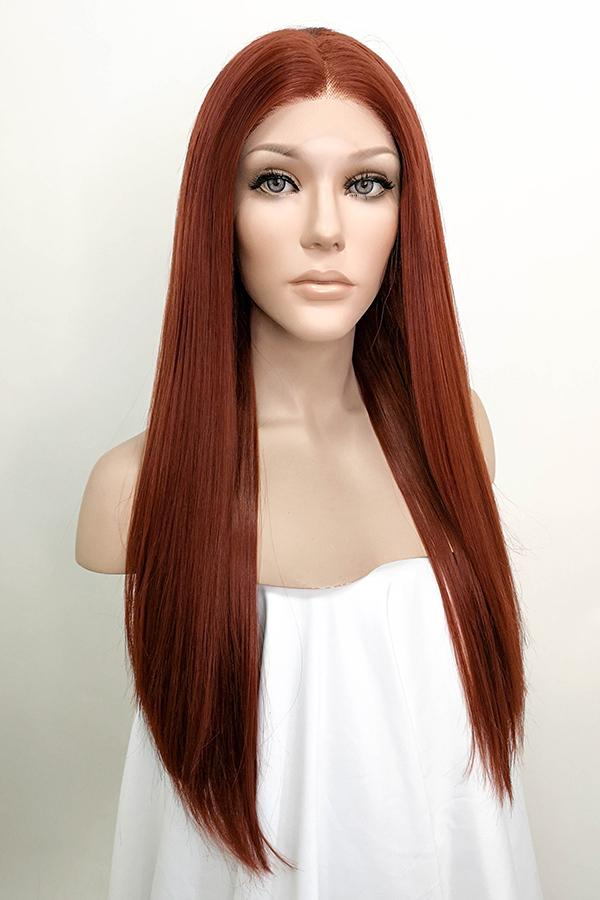 "24"" Auburn Lace Front Synthetic Wig 20006"