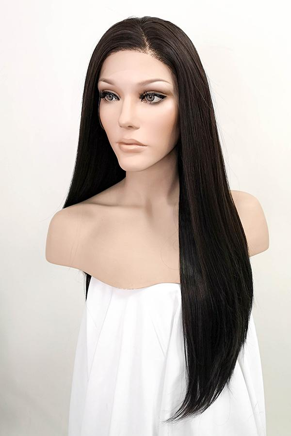 "24"" Black Mixed Brown Lace Front Synthetic Wig 20010 - StarLite Hair"