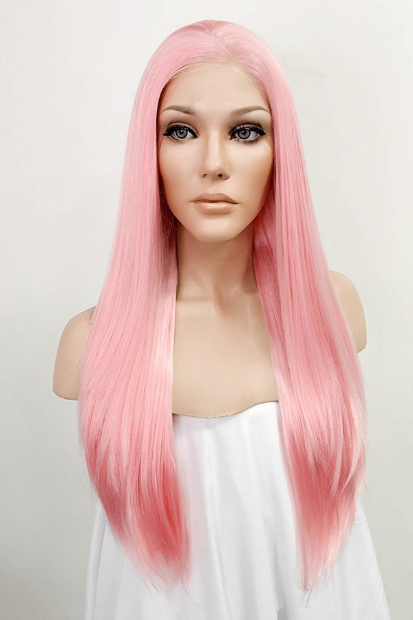 "24"" Pink Lace Front Synthetic Wig 20274"