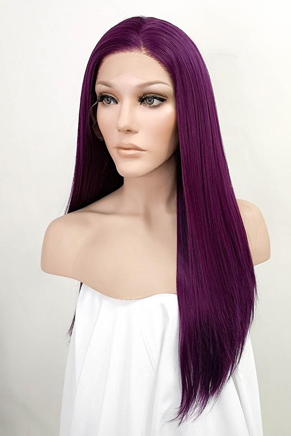 "24"" Dark Purple Lace Front Synthetic Wig 20021"