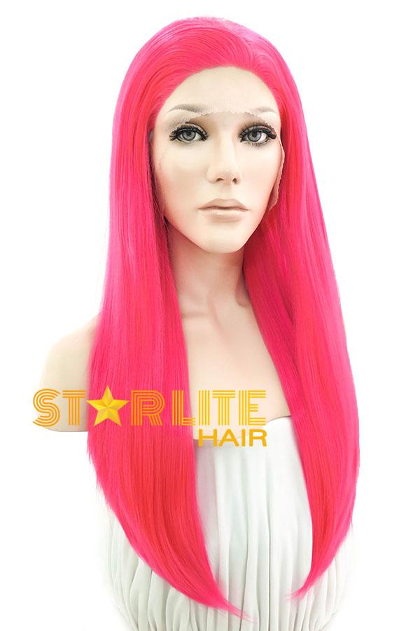 "24"" Hot Pink Lace Front Synthetic Hair Wig 20251 - StarLite Hair"