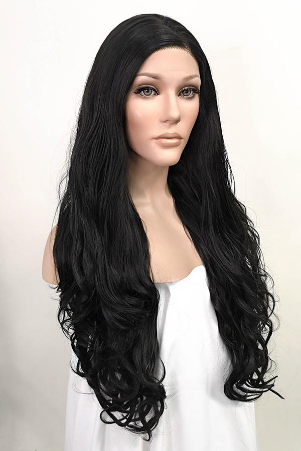 "26"" Natural Black Lace Front Synthetic Wig 20029 Kim Kardashian Inspired"
