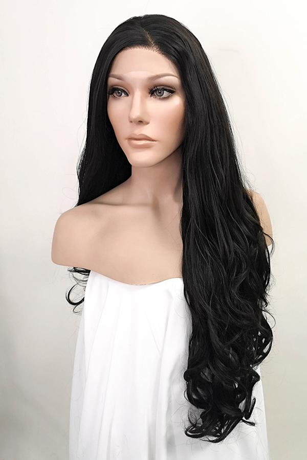 "26"" Natural Black Lace Front Synthetic Wig 20029"
