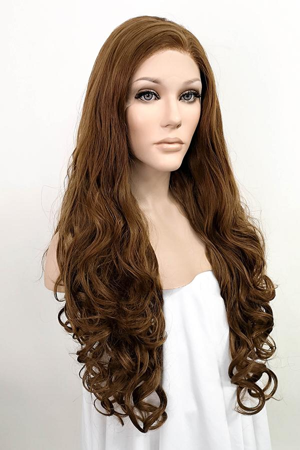 "26"" Brown Lace Front Synthetic Hair Wig 20033"