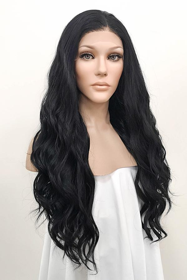 "Kylie Jenner Inspired 24"" Jet Black Lace Front Synthetic Wig 20046"