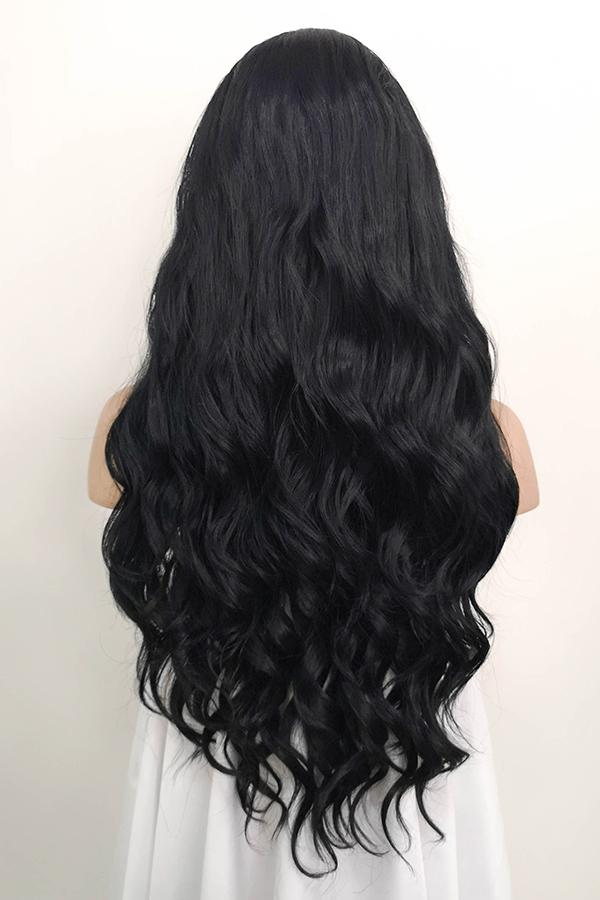 "24"" Jet Black Lace Front Synthetic Wig 20046"