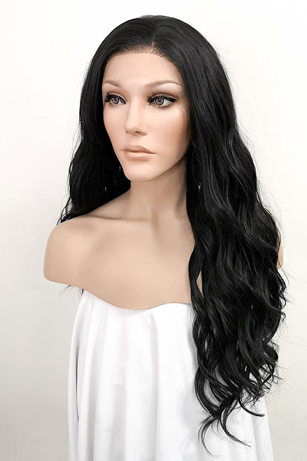 "24"" Natural Black Lace Front Synthetic Hair Wig 20047"