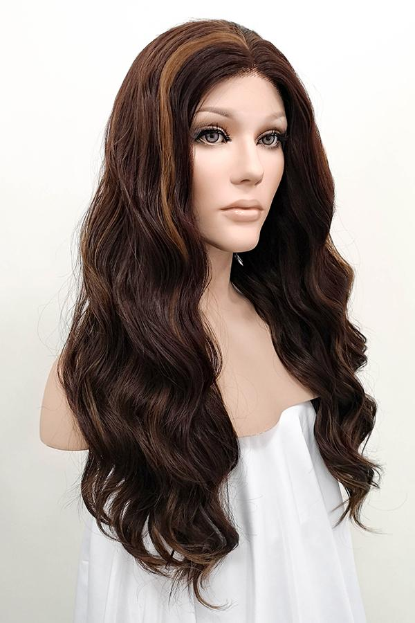 "24"" Mixed Brunette Lace Front Synthetic Wig 20057 - StarLite Hair"
