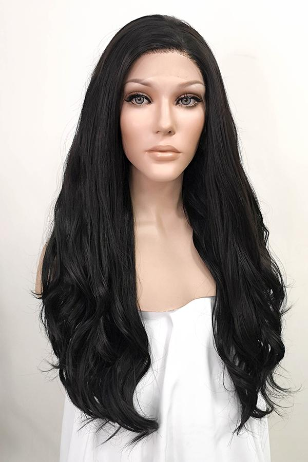 "24"" Natural Black Lace Front Synthetic Wig 20064"