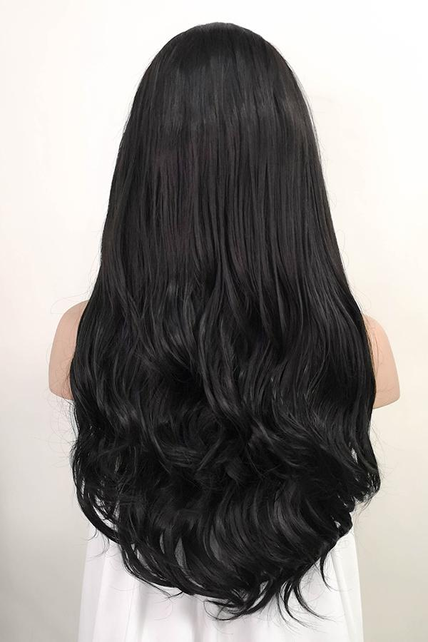"24"" Natural Black Lace Front Synthetic Wig 20064 - StarLite Hair"