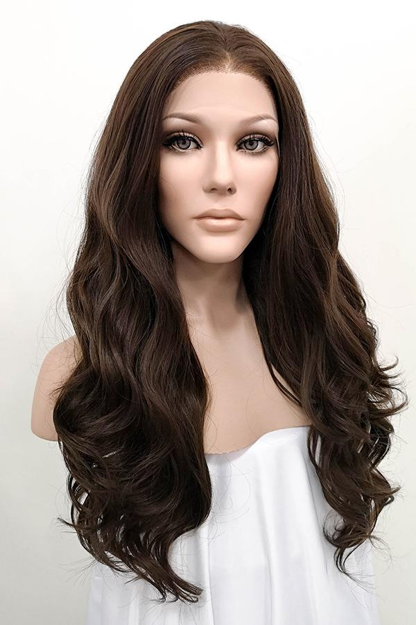 "Miranda Kerr Inspired 24"" Mixed Dark Brown Lace Front Synthetic Wig 20069"