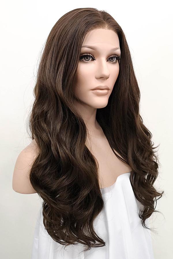 "24"" Mixed Dark Brown Lace Front Synthetic Wig 20069 - StarLite Hair"