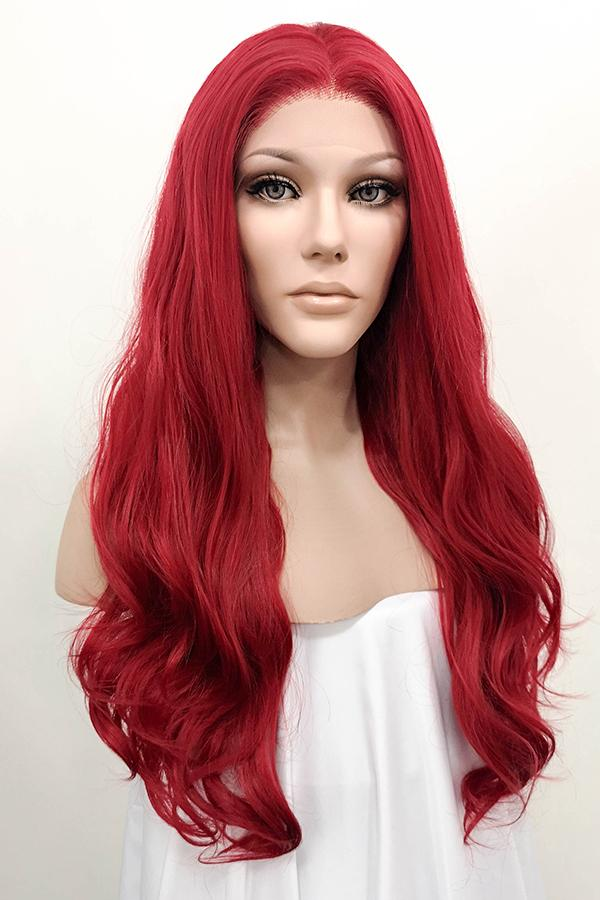 "24"" Red Lace Front Synthetic Hair Wig 20075"