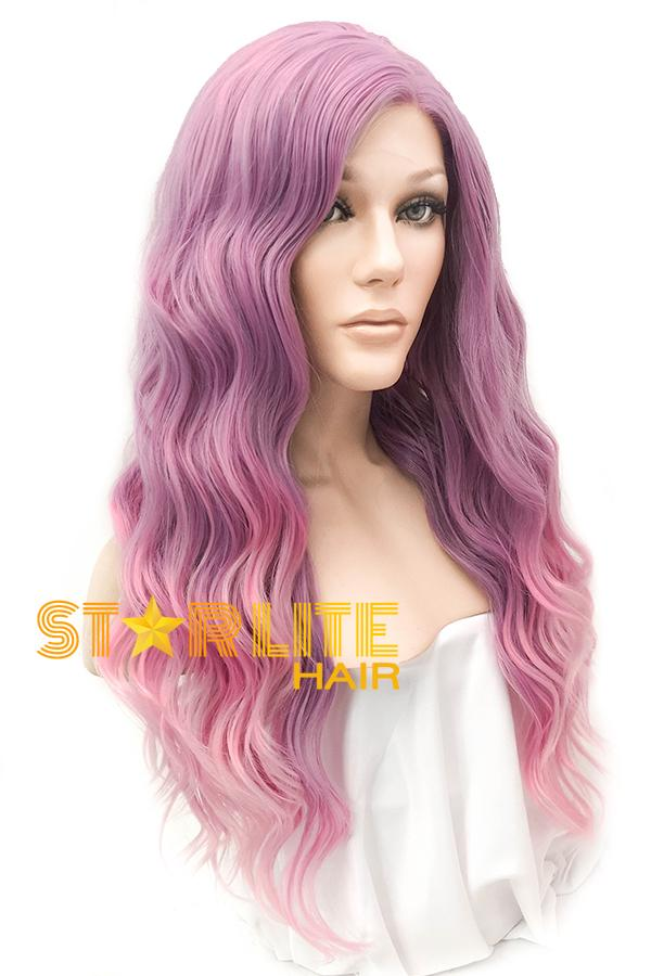 "22"" Purple Pink Ombre Lace Front Synthetic Wig 20336"