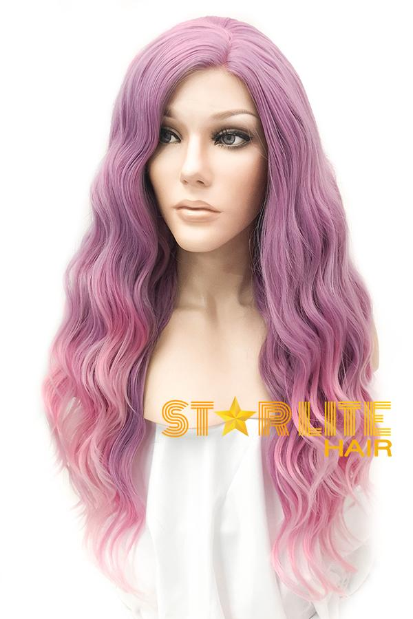 "22"" Purple Pink Ombre Lace Front Synthetic Wig 20336 - StarLite Hair"
