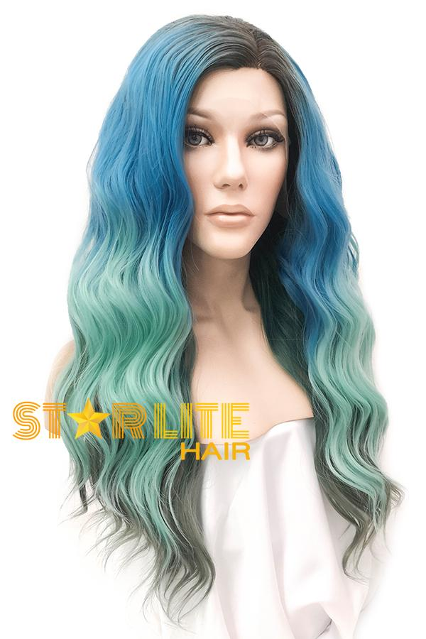"22"" Blue Green Grey With Dark Roots Lace Front Wig 20337 - StarLite Hair"