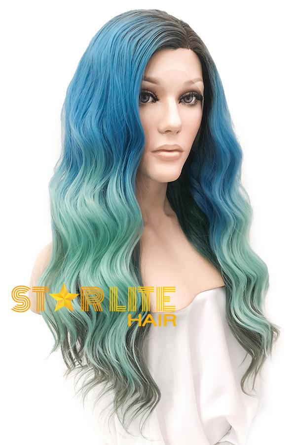 "22"" Blue Green Grey With Dark Roots Lace Front Wig 20337"