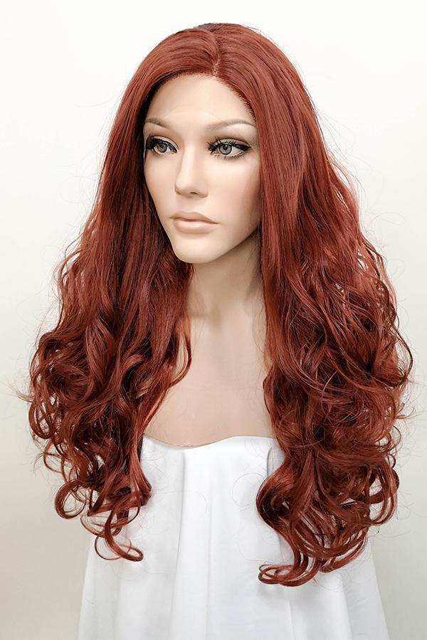 "24"" Auburn Lace Front Synthetic Hair Wig 20230"