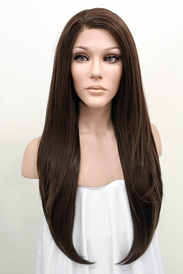 "24"" Dark Brown Lace Front Synthetic Wig 20085"
