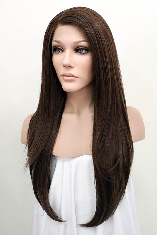 "24"" Dark Brown Lace Front Synthetic Wig 20085 - StarLite Hair"