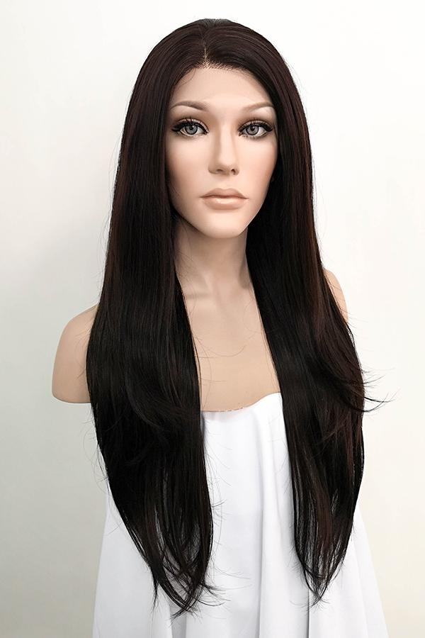 "24"" Black Mixed Dark Brown Lace Front Wig 20222 - StarLite Hair"